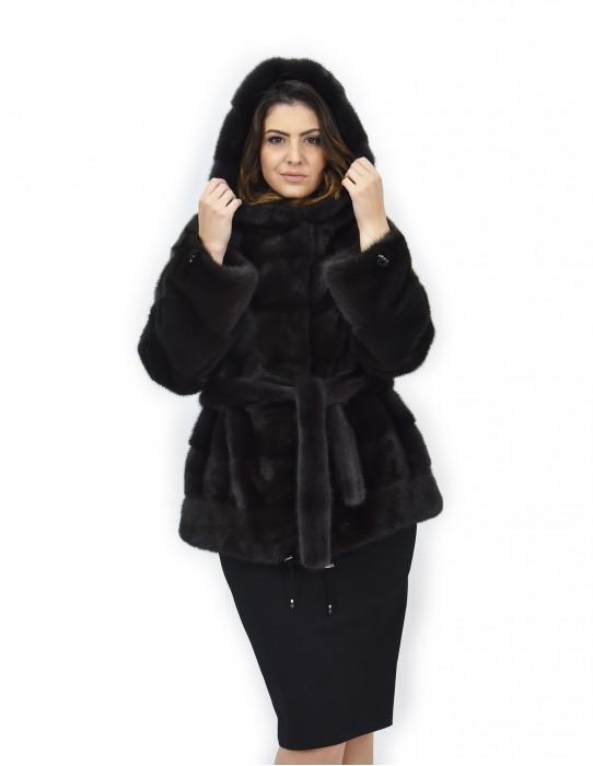 Aurora cap 46 horizontal mink fur coat drawstring bottom and wrists