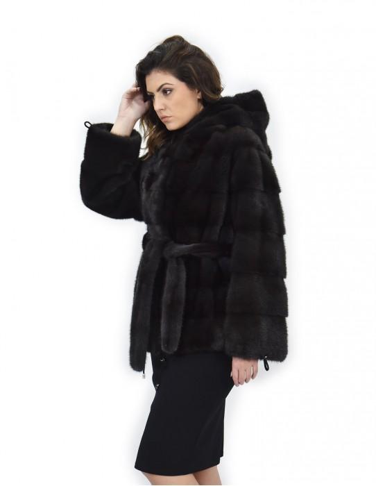 Aurora cap 54 horizontal mink fur coat drawstring bottom and wrists