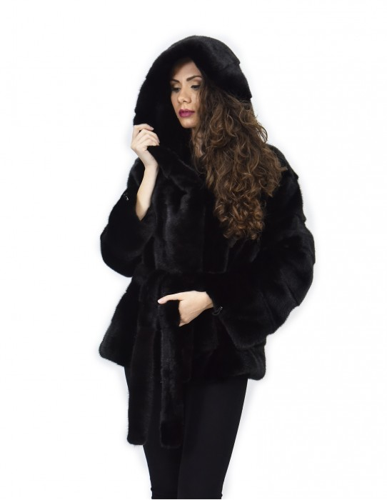 Black hooded fur coat 48 horizontal mink drawstring bottom and cuffs