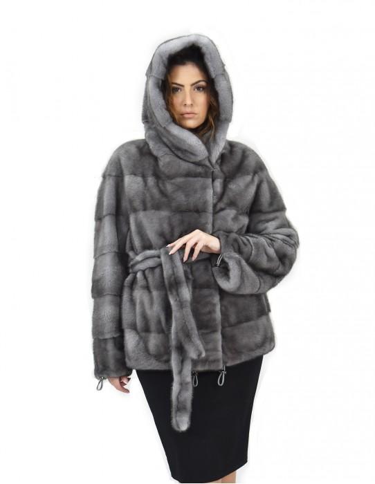 Blue iris cap 46 mink coat fur horizontal drawstring bottom and cuffs