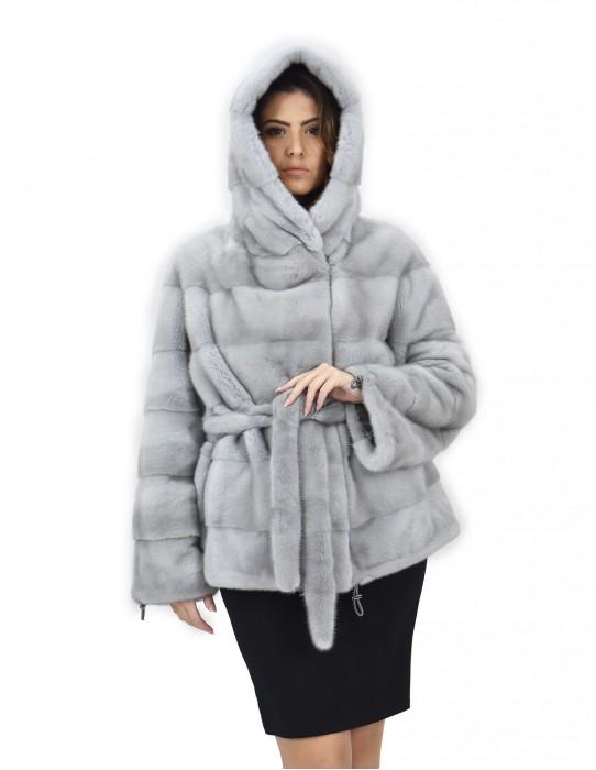 Sapphire hood 52 horizontal mink fur coat drawstring bottom and wrists