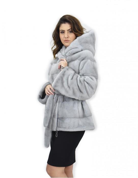 Zaffiro cappuccio 52 cappotto pelliccia visone orizzontale coulisse fondo e polsi