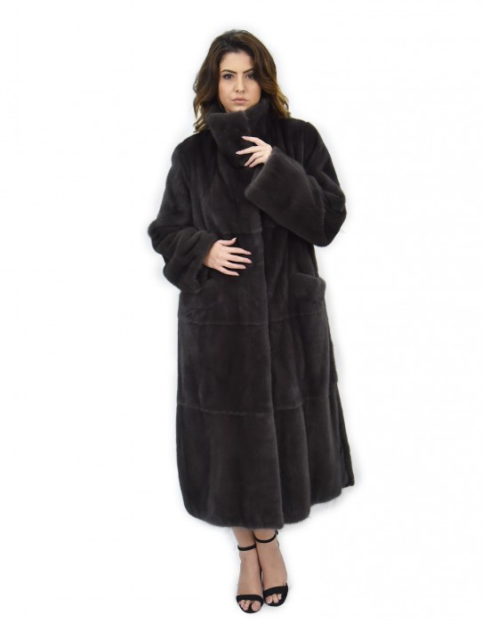 124 cm mink coat whole hides 46 coffee piping neck