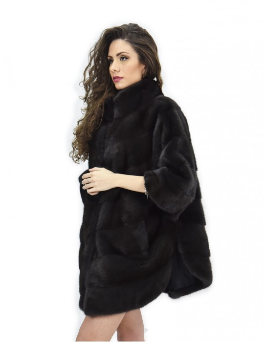 Cape aurora mink fur horizontal 46-50 3/4 sleeve piping