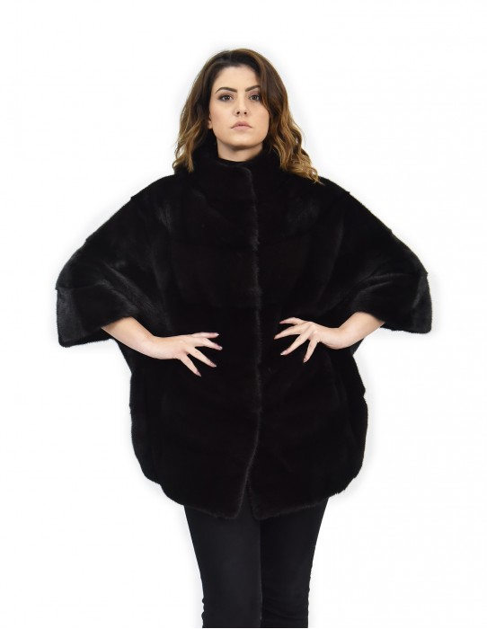 Cape black mink fur horizontal 44-48 3/4 sleeve piping