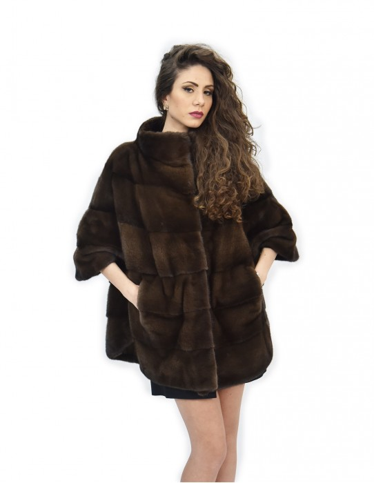 Cape chestnut brown fur mink 44-48 3/4 sleeve horizontal piping