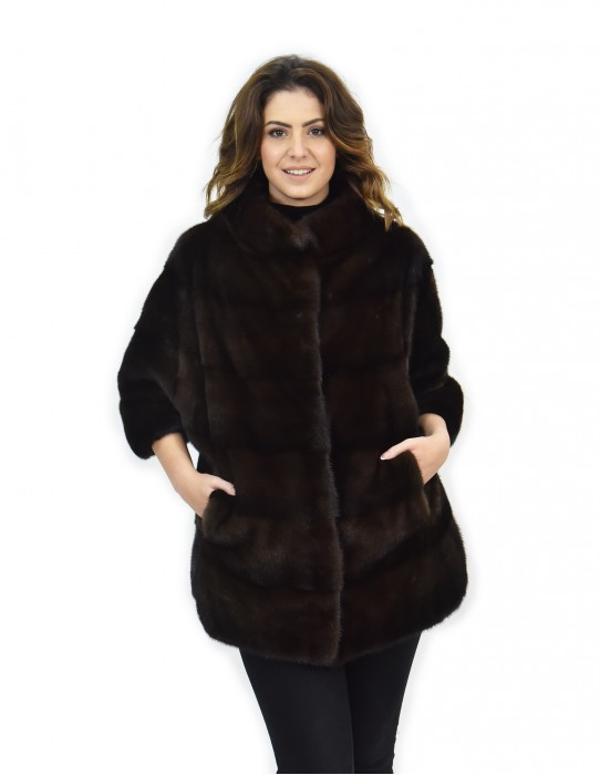 Cape mahogany mink fur horizontal 42-46 3/4 sleeve piping