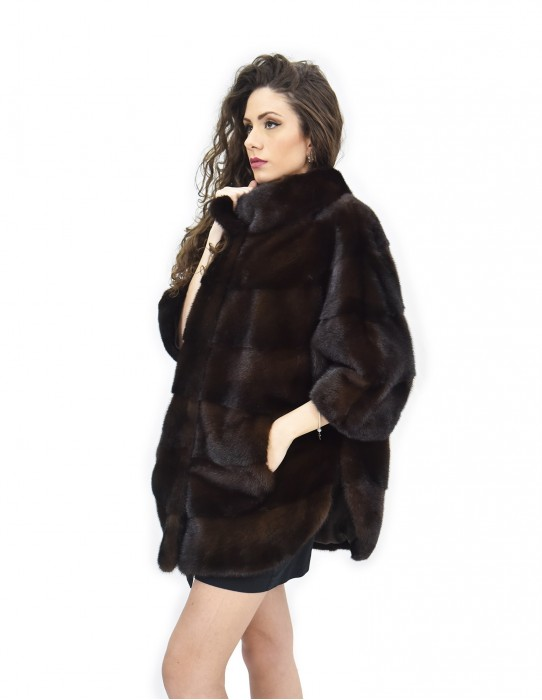 Cape horizontal mahogany mink fur 46-50 3/4 sleeve piping