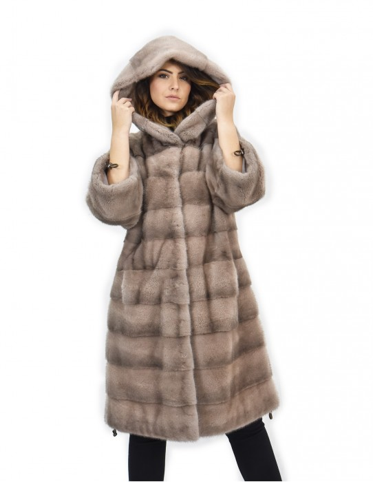 Coat 104cm mink fur cap 42 horizontal smoky roses drawstring