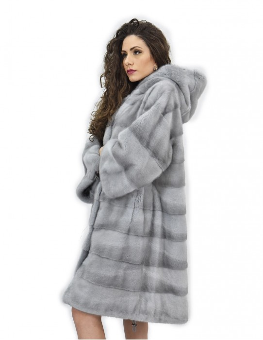 Coat 104cm fur cap 50 horizontal mink sapphire drawstring
