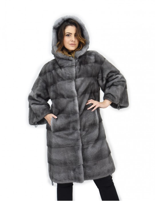 Coat 104cm fur cap 46 horizontal blue iris mink drawstring