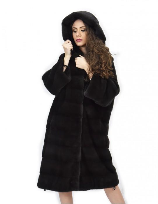 Cappotto 104cm cappuccio pelliccia 48 visone orizzontale aurora coulisse