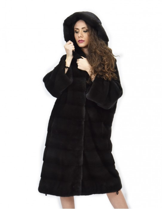 Cappotto 104cm cappuccio pelliccia 52 visone orizzontale aurora coulisse