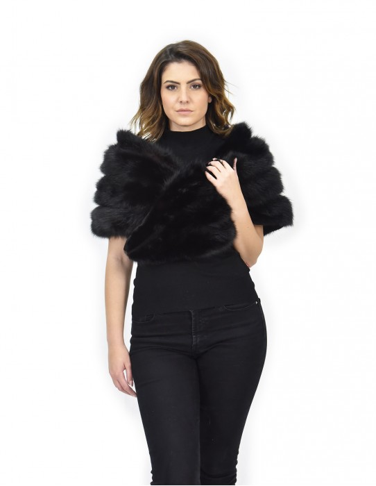Fur Stole black fox Greenland closure and lining in relief
