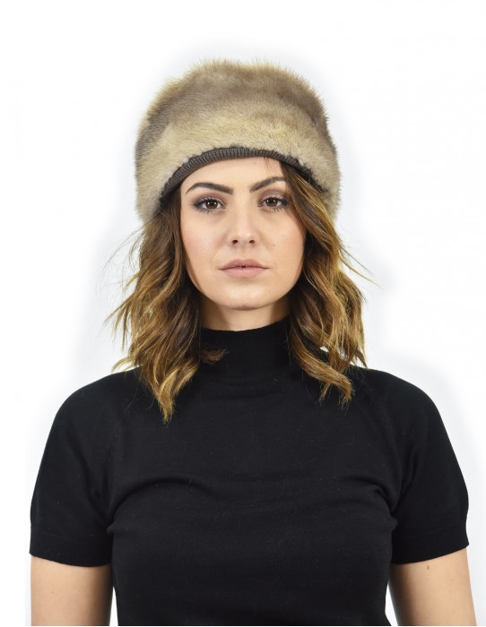Hat in dove mink fur and mutton fur