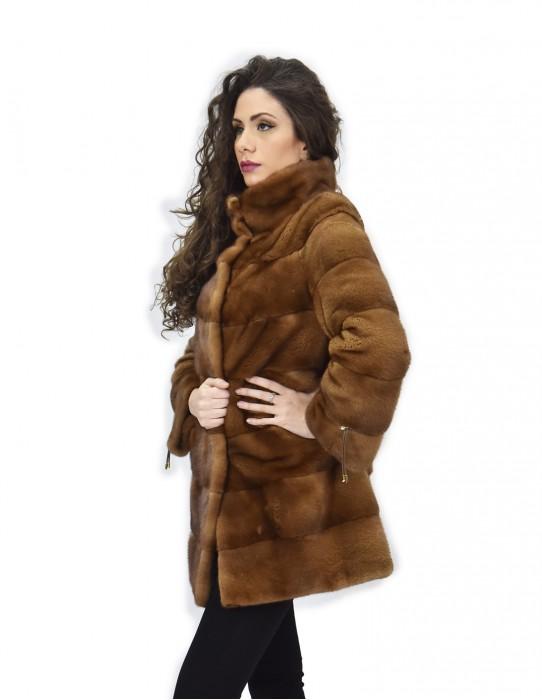 50 Jacket 81 cm gold fur mink full horizontal leather