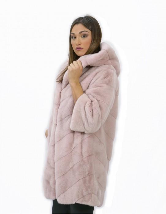 Größe 42 Nerz Pelz mit langen rosa langen Becken V-Schnitt Kapuze