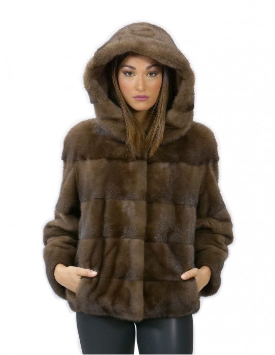 52 Mink fur jacket with sleeve cap 3/4 short demy buff color