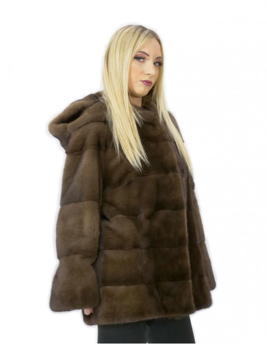 54 Pelliccia di visone manica lunga demy buff cappuccio donna made in italy moda