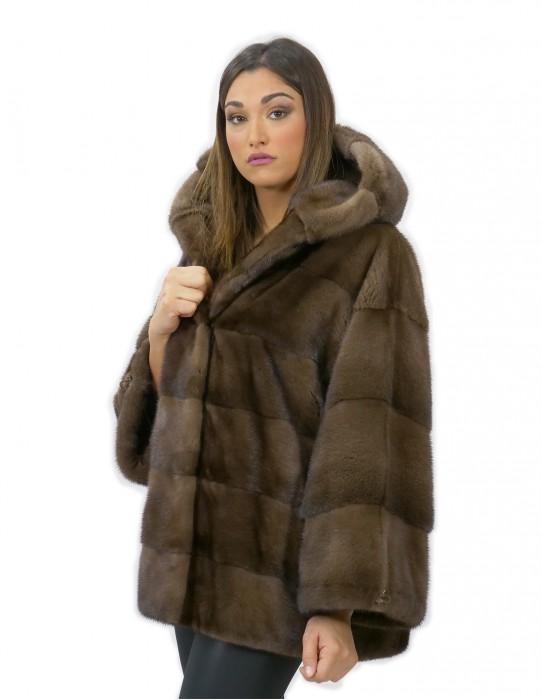 Pelliccia di visone con cappuccio 50 coulisse polsi vestibilità larga comodo