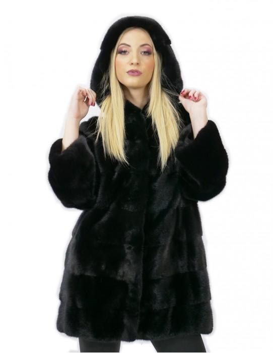 Pelliccia di visone cappottino nero 50 con cappuccio lungo bacino manica 3/4