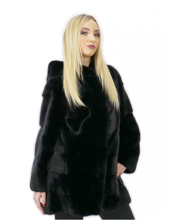 Pelliccia di visone cappottino nero 52 con cappuccio lungo bacino manica 3/4