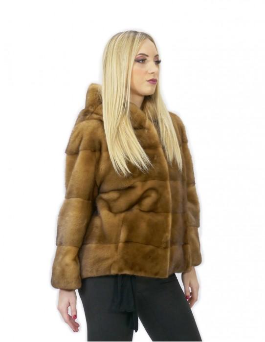 Fur mink short jacket 60 cm gold golden 52 sleeve cap 3/4