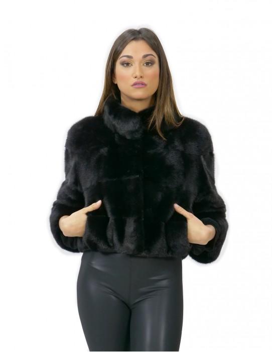 Pelz Nerz kurze Jacke 50 cm schwarz 42 Ärmel 3/4 Pistazienhals