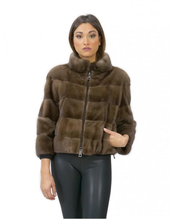 Pelliccia visone giacca con zip 54 centimetri fango 42 manica 3/4 collo pistagna