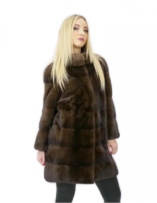 Cappotto pelliccia visone 84 centimetri demi taglia 44 collo pistagna manica 3/4