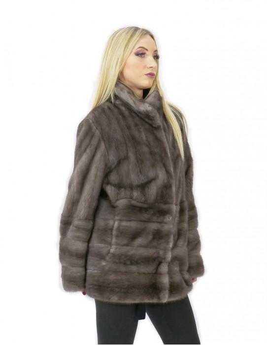 Cappotto pelliccia visone 50 orizzontale e intera 72 centimetri grigio pistagna