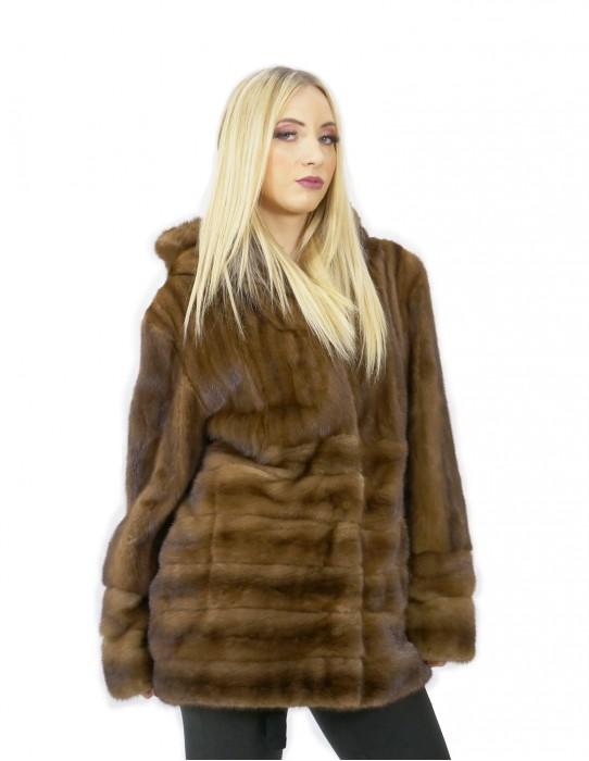 Giacca brown pelliccia visone 52 orizzontale e intera 70 centimetri cappuccio
