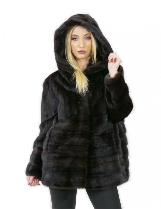 Giacca mogano pelliccia visone 52 orizzontale e intera 70 centimetri cappuccio