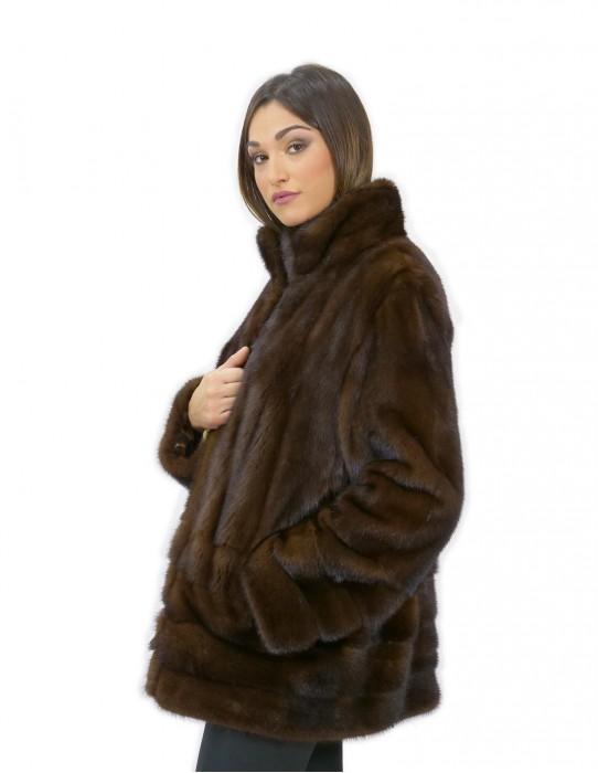 Giacca demy pelliccia visone 52 orizzontale e intera pistagna 70 centimetri
