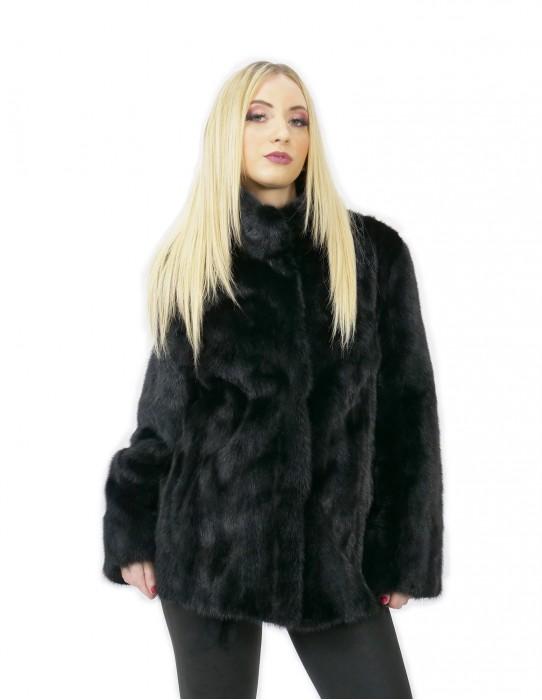 Schwarze Jacke Pelz Nerz 48 horizontal und ganze Pistazien 70 Zentimeter