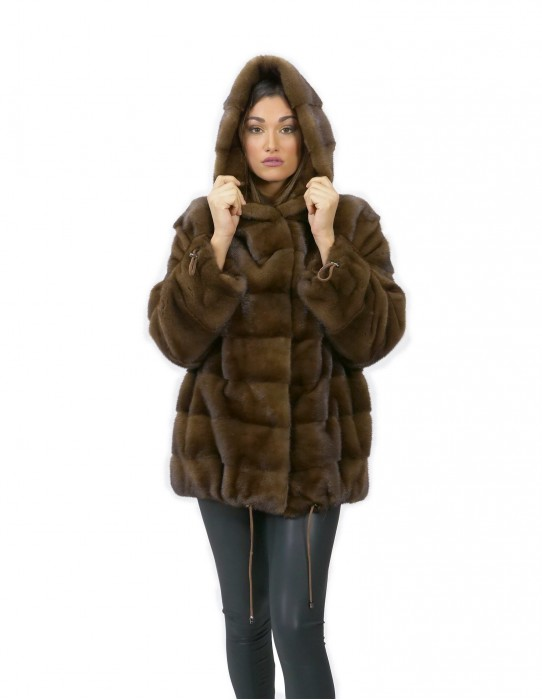 Scanbrown fur coat mink 54 horizontal hood 72 cm fashion drawstring