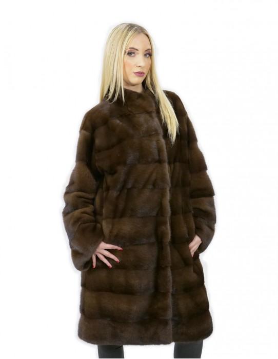Cappotto scanbrown pelliccia visone 46 orizzontale collo pistagna 100 cm