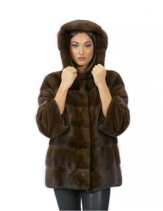Giacca 70 centimetri visone orizzontale taglia 52 pelliccia cappuccio scanbrown