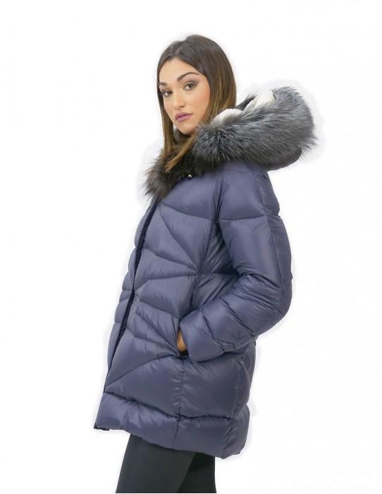 Piumino con pile interno e pelliccia di volpe blu 46 pelliccia cappuccio zip