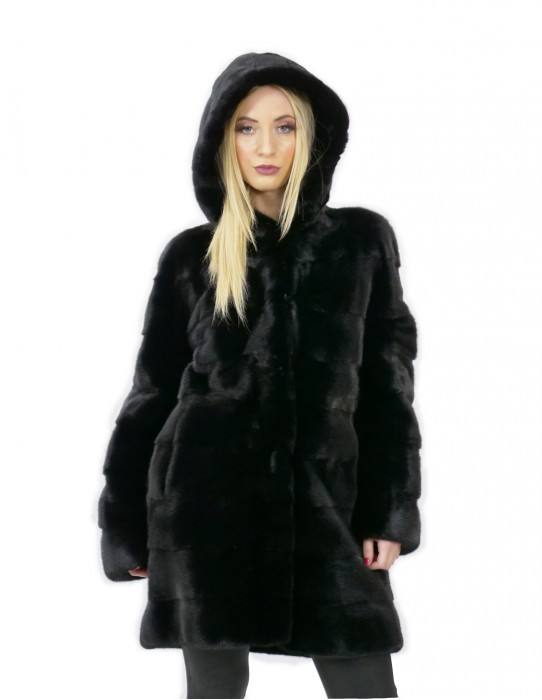 Mink fur size 50 black 88 cm long elegant women's hood