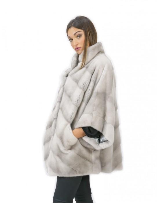 Mink fur size 50 sapphire cape 72 cm long female pistagne