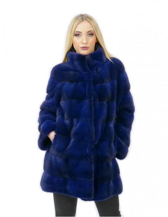 Fur coat mink woman blue cross 44 long 81 cm high neck modern fashion