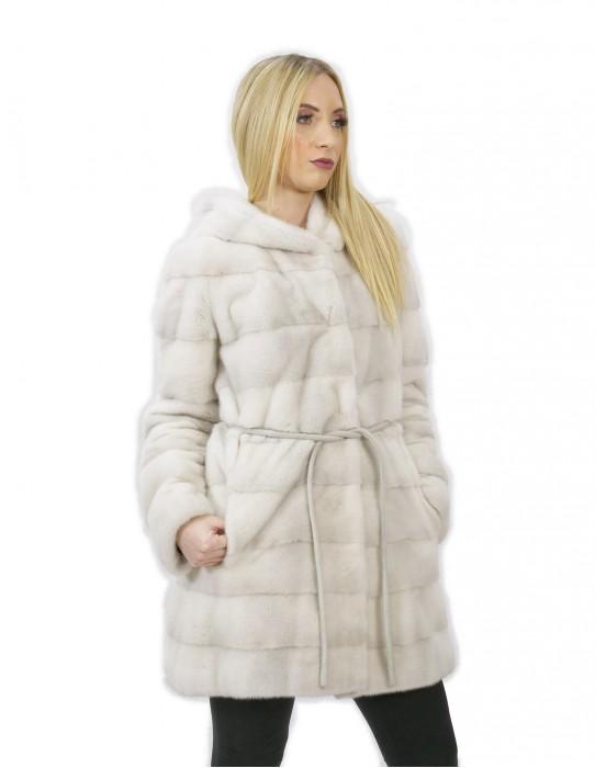 Fur coat mink woman white violet 44 long 84 cm modern hood