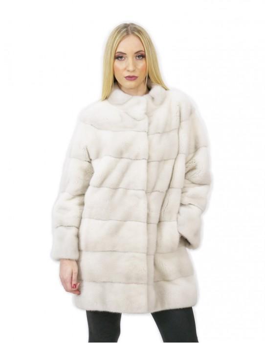 Cappotto pelliccia visone donna bianco violet 48 lungo 84 cm collo alto moderno