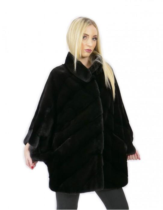 Mink fur size 44 black cape 72 cm long tall neck woman