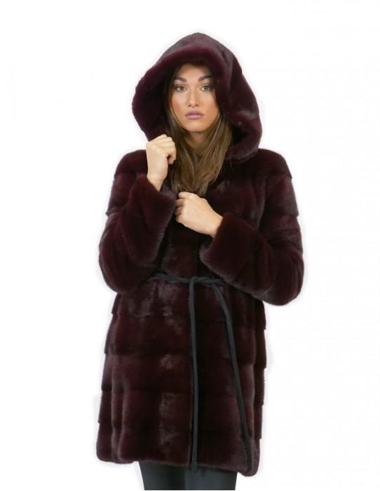 Burgundy women's mink fur coat 44 long 84 cm modern hood