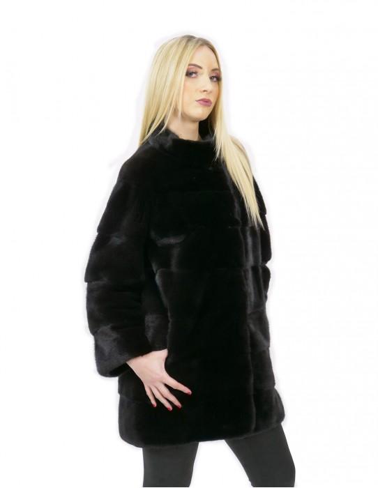Cappotto pelliccia visone donna nero 44 lungo 84 cm collo alto manica 3/4 moda