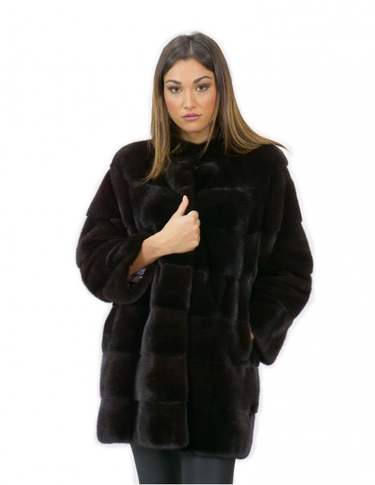 Fur coat mink woman chocolate 44 long 84 cm high neck sleeve 3/4