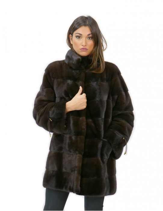 Coat 52 fur mink woman mahogany long 81 cm high neck sleeve 3/4