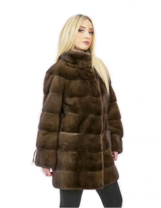 Coat 56 long 81 cm fur mink woman demi buff neck high sleeve 3/4
